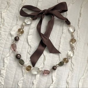 STELLA and DOT Chloe Brown beaded ribbon necklace